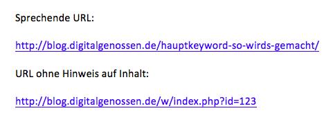 Beispiele von jeweils einer sprechenden URL und einer URL ohne Hinweis auf den Inhalt