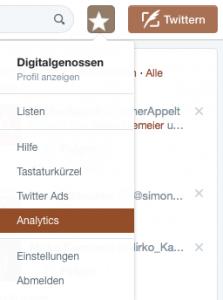 Menü Ansicht in Twitter mit Weg zum Social Media Monitoring