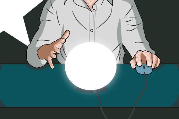 Blick in die Glaskugel für die Zukunft im Webdesign