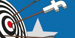 Pfeil mit Facebook Symbol als Symbol für das Targeting
