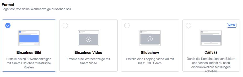 Abbildung der optischen Gestaltungsmöglichkeiten deiner Facebook Werbung