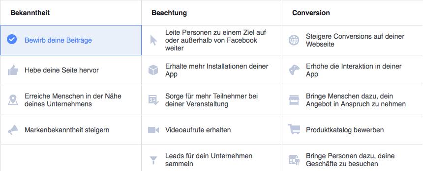 Ziele der Facebook Werbung