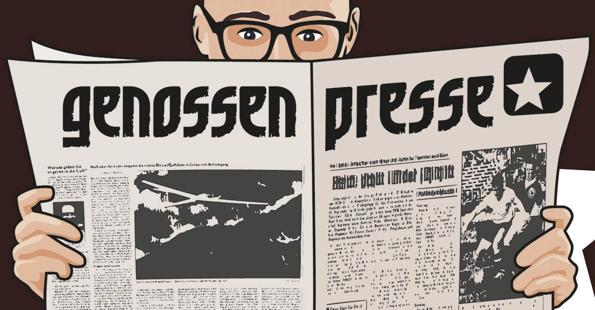 Comic-Figur hält Digitalgenossen Zeitung