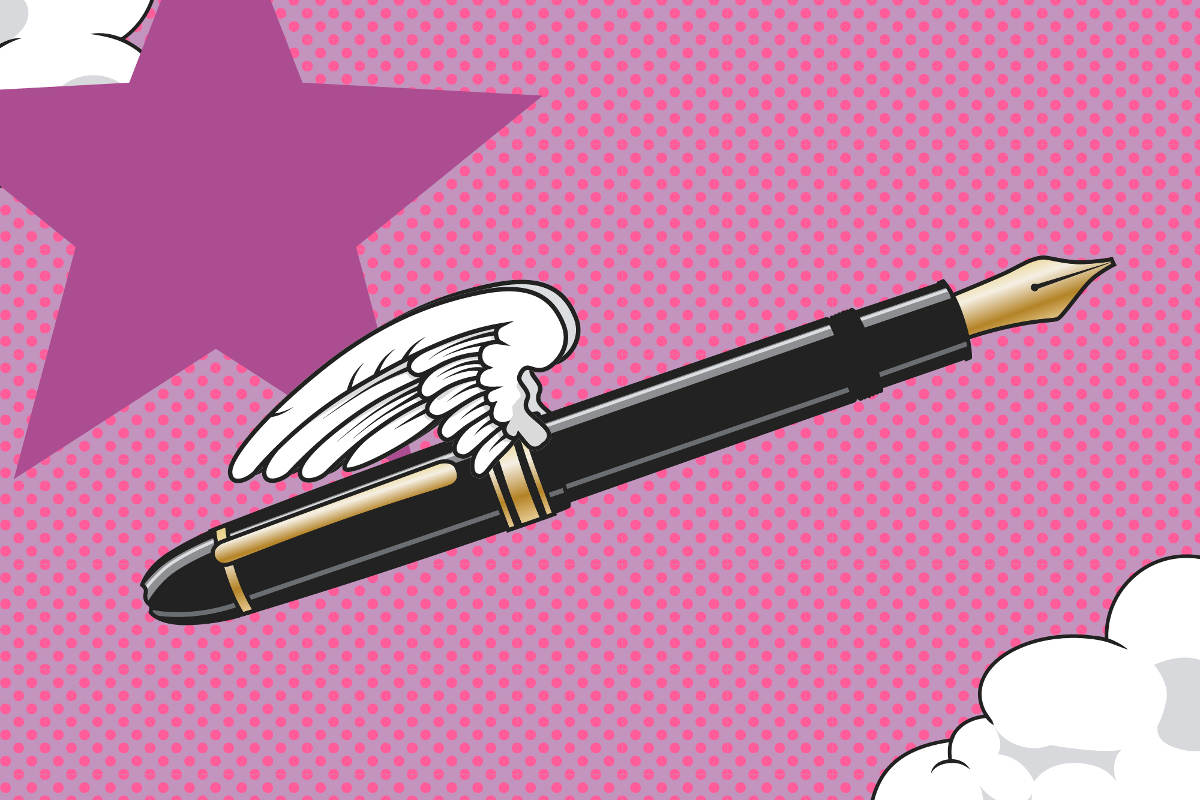 Stift mit Flügeln als Symbol für kreatives Texten