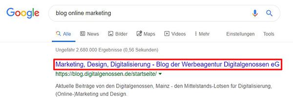 Der Title stellt in der Suchergebnisliste den Linktext zur Webseite dar.